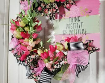 Think Positive Wreath Made on Facebook LIVE, Everyday Wreath, Pink and Green tulip grapevine wreath, Inspirational Wreath, Grapevine Wreath