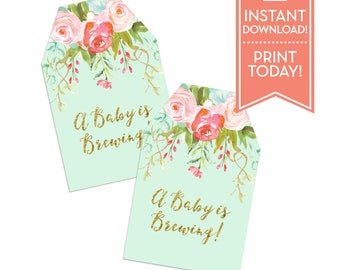 A Baby is Brewing Teabag Printable Favor Tags - Thank You Tags - Favor Tags - Gift Tags - Watercolor Floral  - Instant Download - LR1050