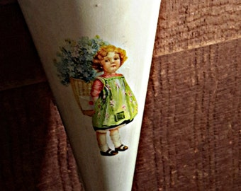 vintage METAL CONE tussie mussie with little girl bouquet hanging decoration home