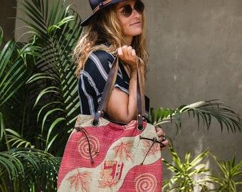 Boho Chic Bag Tote HandBag, Shoulder Bag, Ethnic Tribal Gypsy Boho Bohemian Leather And Quilt Stylish Bag Gift For Women
