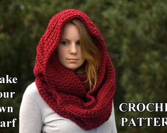 CROCHET PATTERN Oversized Infinity Scarf Pattern, Hooded Cowl, Instant Download