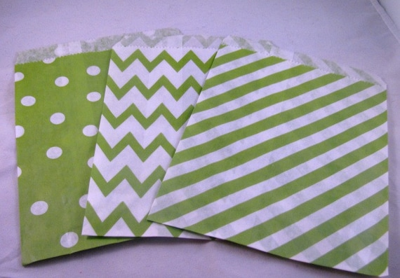 24 Christmas Treat Bags/Favor Bags/Bright, Lime Green, Chevron, Dot, Stripes