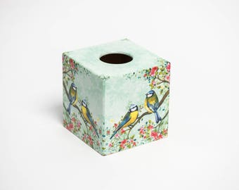 Blue Tits  Wooden Handmade Tissue Box Cover
