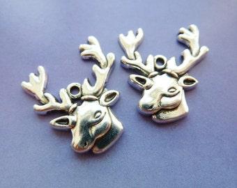 10 pendants, deer head, antler, Oktoberfest, bavarian, antique silver