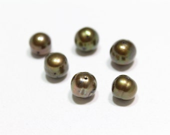 Brown Rounded Freshwater Pearls  9-10mm 6pcs