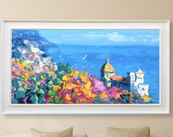 Positano Painting Amalfi Coast Italy Painting Oil Painting Original Painting Canvas Art Impressionist Art Seascape Painting Gifts for Mom
