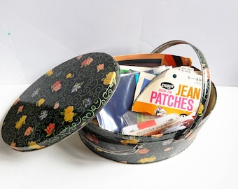 Vintage Sewing Box - Sewing Tin - Round Tin - Vintage Sewing - Sewing Notions
