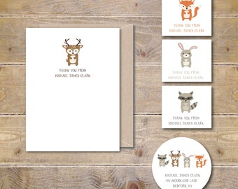 Woodland Baby Thank You Cards, Baby Shower Thank You Cards, Baby Shower Thank You Note, Thank You Cards Baby, Fox, Racoon, Rabbit, Deer