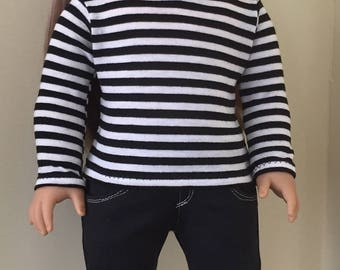 Fits American Girl doll: striped tee and black skinny jeans