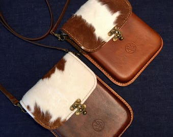 New!  Cowhide Flap on our Brown Molded Leather Bag! Fur-On Cowhide, Molded Leather Purse, Brown Leather, Cowhide, Crossbody Leather Bag