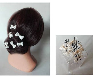 Bridal hair bun bow, quilted Hat woman ceremony, wedding hair pin
