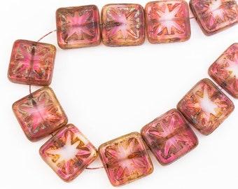 15mm Transparent/Opal Pink Picasso Square Compass Bead (12 Pcs) #TBL005
