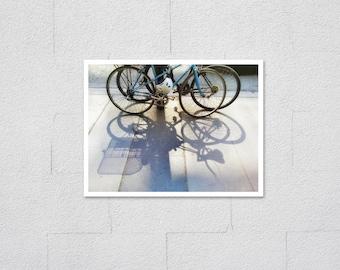 Bicycle Shadows Fine Art Photo Print, Two Bikes on Sidewalk Modern Urban Photography, Bike Lover Theme Wall Art