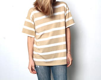 90s striped OXFORD soft SPRING t shirt top tan and white shirt