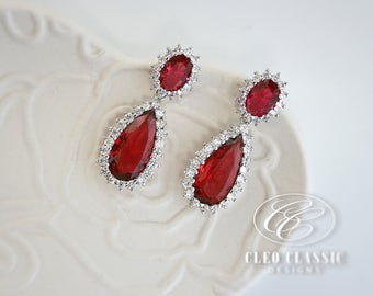 Ruby Earrings |  Bridesmaid Earrings | July Birthstone | Bridal Earrings | Dangle Earrings | Drop Earrings