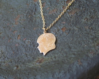 Vintage Girl Silhouette Gold Filled Necklace