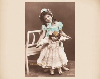 Girl With A Porcelain Doll New 4x6 Vintage Postcard Image Photo Print GD03