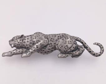 1980's Crouching Leopard Brooch, Jungle Cat Pin, Vintage 1980's Signed JJ Leopard Brooch