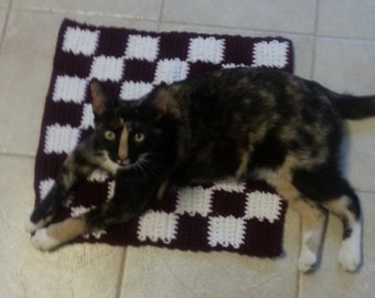 "18"" Crochet Checkerboard Cat Sm Dog Pet Blanket Bed Mat Rug Free Shipping"