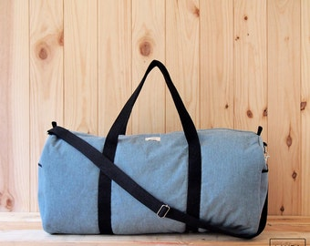 MAXI bag for sport and travel Blue Canvas/sport & Traveler Duffel Bag-weekend canvas bag-Blue canvas