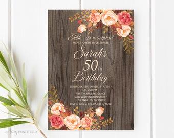 Fall Surprise Birthday Invitation, Rustic 50th Birthday Invitation, Any Age Birthday Invite, PERSONALIZED, Digital file, #W82
