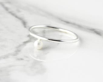 Sideways pearl ring - recycled sterling silver ring