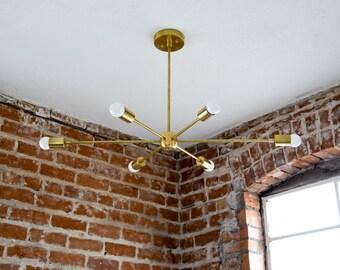 Large 36in. Modern Gold Brass Starburst Chandelier 6 Arm Pinwheel Bulb Sputnik Mid Century Dining Room Hanging Light UL Listed