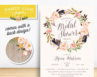 Tribal Floral Wreath Bridal Shower Brunch Digital Invitation - DIY Printable