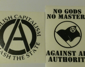 2 Decal set: Abolish Capitalism - Smash The State & No Gods No Masters Vinyl Decals