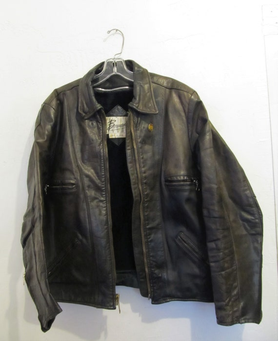 L Dark Style A 70's MARBLED As Brown Leather BIKER by Is Men's BERMANS Jacket Vintage w7FIqW87