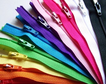 Ten 10 Inch Zippers Rainbow Sampler red orange yellow green blue purple pink black white