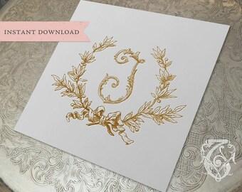 Vintage Wedding Initial J Laurel Wreath Crest Digital Download