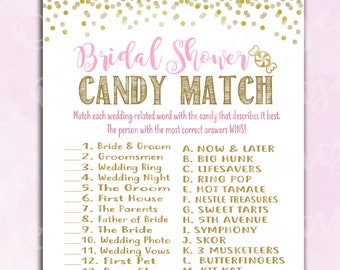 Bridal Shower Game - Wedding Candy Match - Pink & Gold - Instant Printable Digital Download - How Sweet It Is Activity Fun Unique Printable