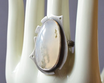 Frozen Moss Ring Made With A Moss Agate Stone