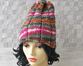 Winter hat Handknit Slouchy, Multicolor Striped beanie  for ladies Women Fashion