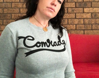 cropped grey comrade print jumper