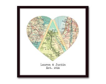 Wedding Gift for Couple, Custom 3 Map Art, Adventure Together, Heart Map Gift, Personalized Map Art Print, Long Distance Romantic Gift