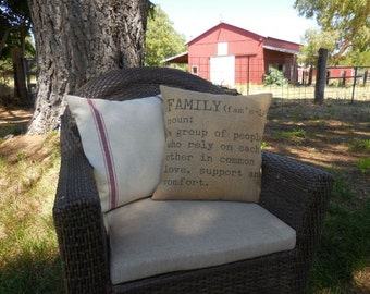 Family Definition Burlap Pillow | Rustic Farmhouse | Shabby Chic |  Farmhouse Pillows | Saying 26| INSERT INCLUDED