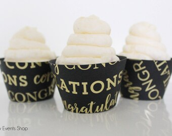 Congratulations Cupcake Wrappers, Graduation Cupcake Wrappers, Anniversary Cupcake Wrappers, Anniversary Party-Set Of 6, 12,18,24+