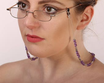 Glasses Chain | Eyeglass Chain | Dual Necklace Chain | Reading Glasses Holder | Spectacle Holder | Amethyst Birthstone | Book Lover |A0065