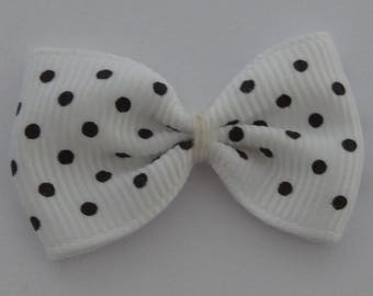25 bows Ribbon grosgrain 35x24mm white with black dots - Ref: No. 02
