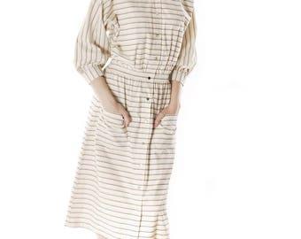 Vintage 1970s Vuokko Designer Stripes Print A Line Shirt Dress Coat Cotton S-M