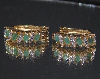 Vintage Sterling Silver Emerald Earrings