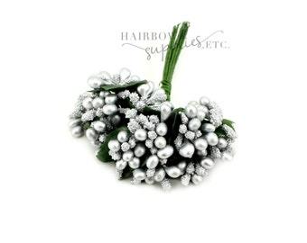 Silver Pip Berry Stems 1 inch - Pip Berries, Berry Stamen, Pip Berry Wreath, Flower Making, Flower Stamens, Artificial Berries, Pip Berries