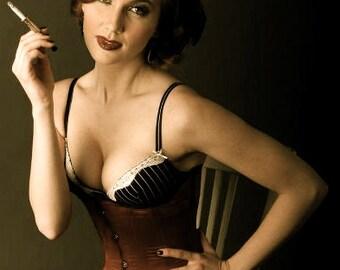 Bespoke Rouge Underbust Corset Steampunk Burlesque Cabaret 20s Costume Piece