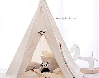 Teepee BIG - Plain fabric tent and flags only | Teepee tent | Canvas Teepee | Play Tent | Play Nursery | Kids Teepee | Wigwam | Indoor Tipi