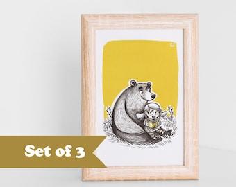 Bear postcards SET, children art, art for kids, folk illustration, A6 print, print to frame, kids for print, A6 postcards, kids art cards