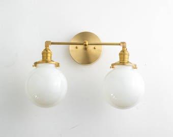 Bathroom Lighting   Bathroom Vanity Light   Modern Vanity Fixture   Brass Vanity  Light   Globe