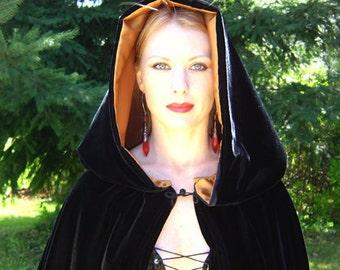 MOON WITCH'S CLOAK - Designer Black Velvet Cloak