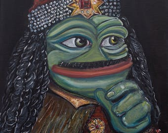 Pepe the Frog - Pepe Vlad the Impaler, Vlad Dracula by Pepelangelo, painting, oil on canvas, bitcoins accepted
